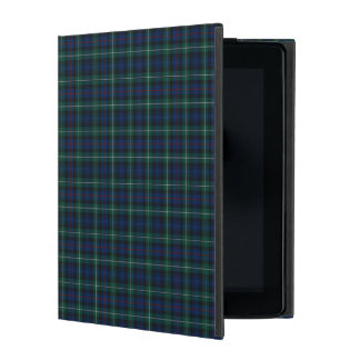 Royal Blue and Green Mackenzie Clan Scottish Plaid iPad Folio Case