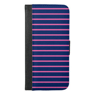 Royal Blue and Hot Pink Stripes Pattern iPhone 6/6s Plus Wallet Case