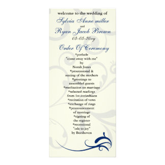 royal blue and ivory Wedding program Rack Card
