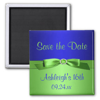 Royal Blue and Lime Green Save the Date Magnet