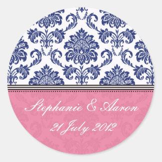 Royal Blue and Pink Damask Wedding Sticker