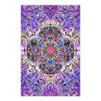 Royal Blue and Purple Abstract Mandala Pattern Stationery Design