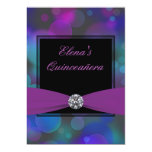 Royal Blue and Purple Quinceanera Custom Announcements