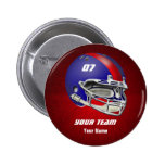Royal Blue and Red Football Helmet 2 Inch Round Button