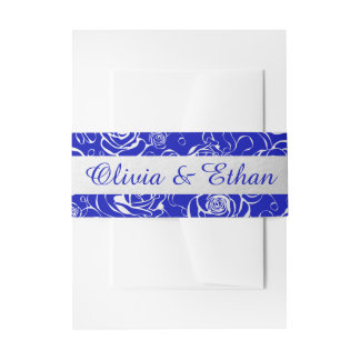 Royal Blue and Silver Belly Band For Invitations Invitation Belly Band