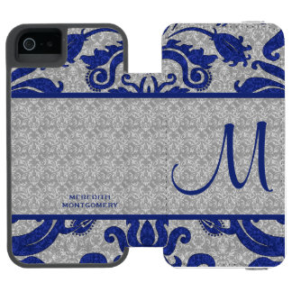 Royal Blue and Silver Damask | Custom Case Incipio Watson™ iPhone 5 Wallet Case