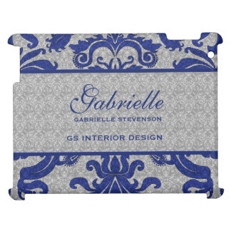 Royal Blue and Silver Damask   Custom Case Case For The iPad 2 3 4