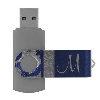 Royal Blue and Silver Damask   Monogrammed Flash Swivel USB 2.0 Flash Drive