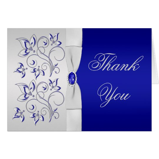 Royal Blue and Silver Floral Thank You Card