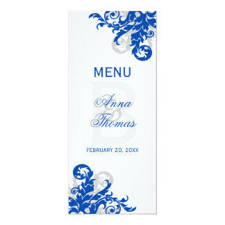 Royal Blue and Silver Flourish Menu Card
