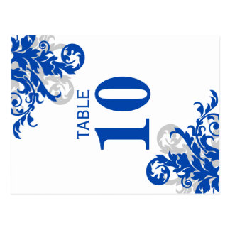 Royal Blue and Silver Flourish Table Number Card Postcard