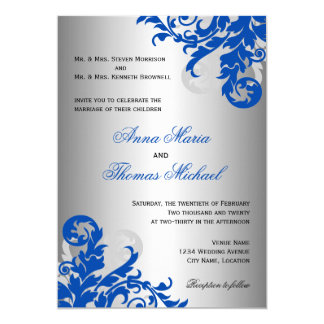 "Royal Blue and Silver Flourish Wedding 5"" X 7"" Invitation Card"