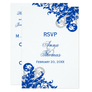 Royal Blue and Silver Flourish Wedding RSVP Cards