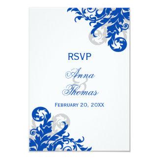 "Royal Blue and Silver Flourish Wedding RSVP Cards 3.5"" X 5"" Invitation Card"