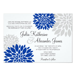 "Royal Blue and Silver-Gray Floral Burst Wedding 5"" X 7"" Invitation Card"