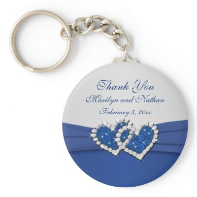 Royal Blue and Silver Joined Hearts Keychain by NiteOwlStudio