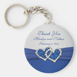 Royal Blue and Silver Joined Hearts Keychain