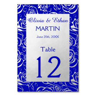 Royal Blue and silver Roses Table Card