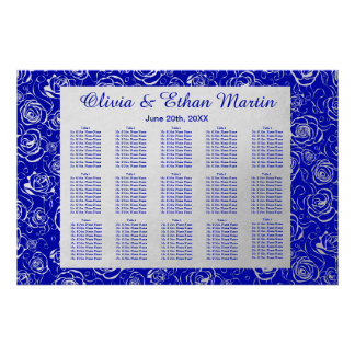 Royal Blue and Silver Roses Wedding Seating Chart