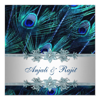 "Royal Blue and Silver Royal Blue Peacock Wedding 5.25"" Square Invitation Card"