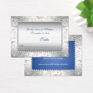 Royal Blue and Silver Swirl Table Place Cards