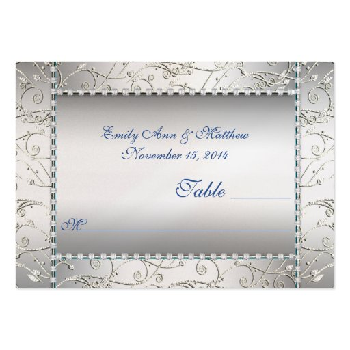 Royal Blue and Silver Swirl Table Place Cards Business Card Templates