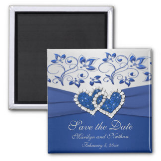 Royal Blue and Silver Wedding Favor Magnet