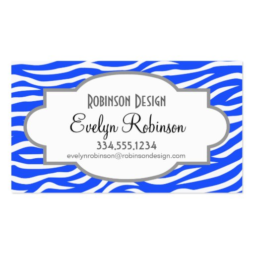 Royal Blue and White Animal Print Zebra Stripes Business Card Templates