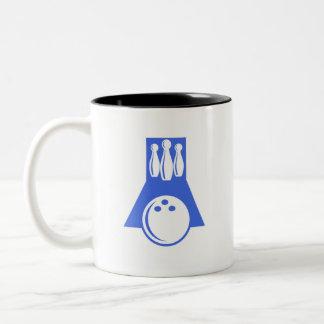 Royal Blue and White Bowling Two-Tone Coffee Mug