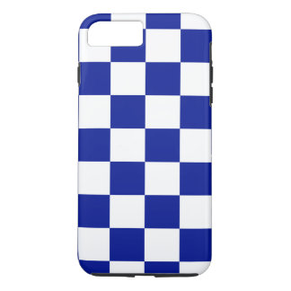 Royal Blue and White Chequered Pattern iPhone 8 Plus/7 Plus Case