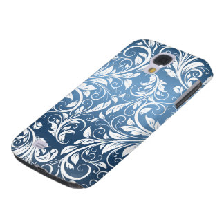 Royal Blue and White Floral Damask Pattern