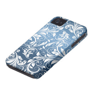 Royal Blue and White Floral Damask Pattern iPhone 4 Case-Mate Case