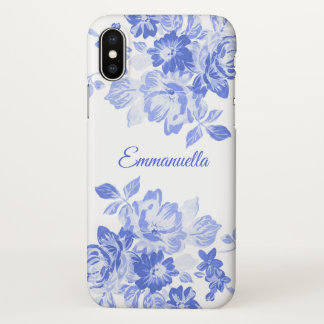 Royal Blue and White Floral Watercolor Monogram iPhone X Case