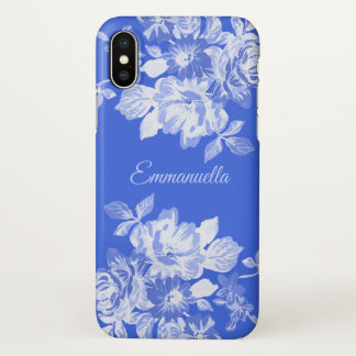 Royal Blue and White Floral Watercolor Name iPhone X Case