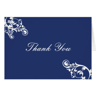 Royal Blue and White Flourish Thank You Note Card
