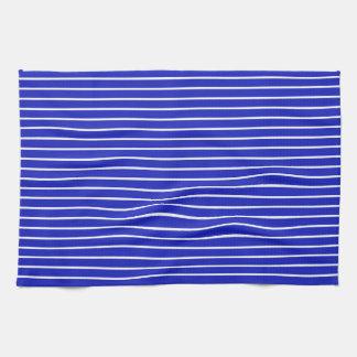 Royal Blue and White Horizontal Stripes Kitchen Towel