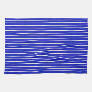 Royal Blue and White Horizontal Stripes Towels