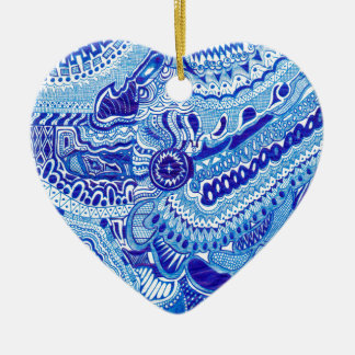 Royal Blue and White Ming style pattern art Christmas Tree Ornaments