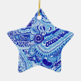 Royal Blue and White Ming style pattern art Christmas Ornament