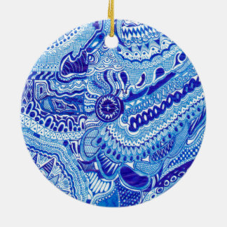 Royal Blue and White Ming style pattern art Ornaments