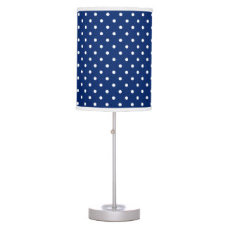 Royal Blue and White Polka Dot Pattern Table Lamp