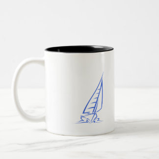 Royal Blue and White Sailing; Sail Boat Two-Tone Coffee Mug