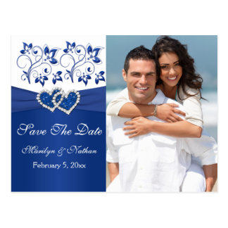 Royal Blue and White Save the Date Photo Card Postcard