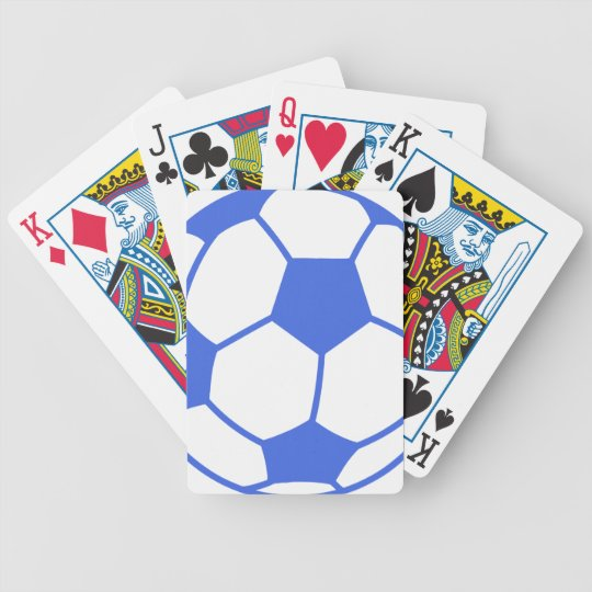 Royal Blue and White Soccer Ball Bicycle Playing Cards