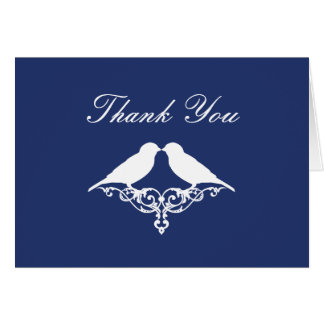 Royal Blue and White Sparrows Thank You Note Card