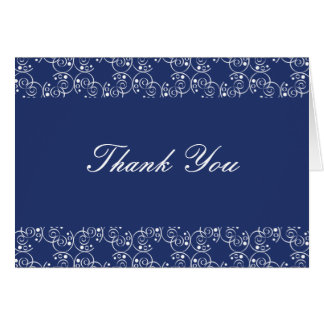 Royal Blue and White Spiral Swirls Thank You Note Card