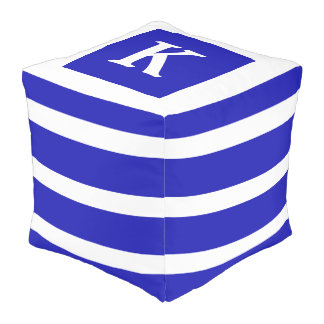 Royal Blue and White Stripe Monogram Pouf