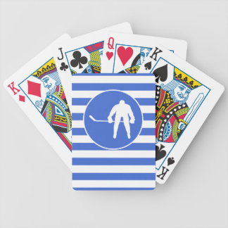 Royal Blue and White Stripes; Hockey Poker Deck