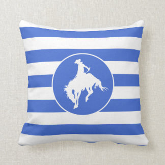 Royal Blue and White Stripes; Rodeo Cowboy Throw Pillow