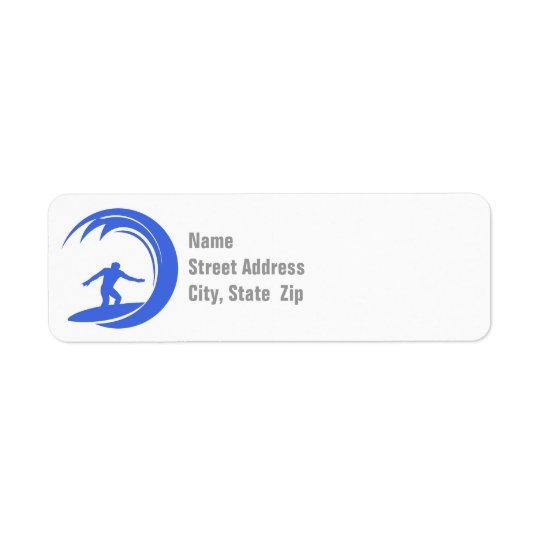 Royal Blue and White Surfing Return Address Label